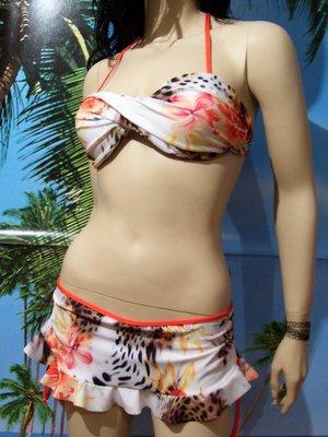 bikini Anna reggiseno fascia incrociata e gonnellino volant