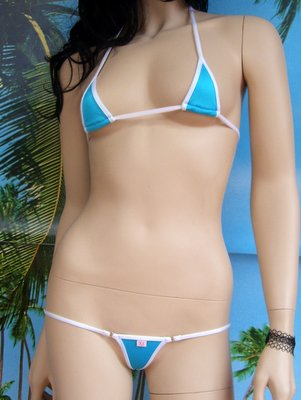 bikini Tropical turchese bianco