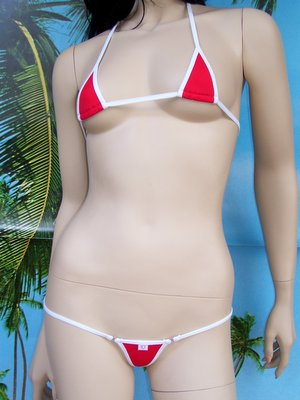 bikini Tropical rosso bianco