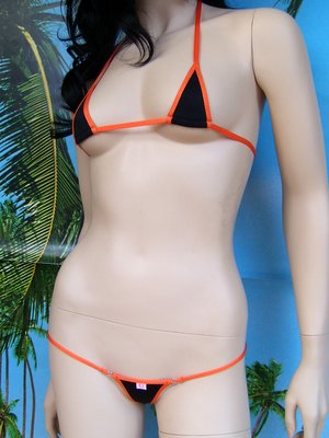bikini Tropical nero arancione