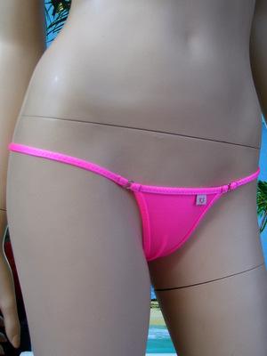 mini string tanga rosa neon